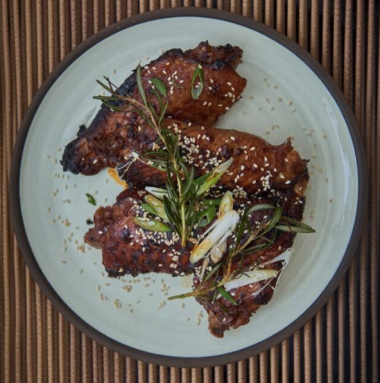 Turkey Wings with Harissa Sauce. Photo courtesy of Strut and Cluck Instagram